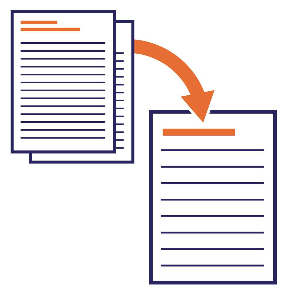 2 document icons with an arrow pointing towards a single plain language document icon